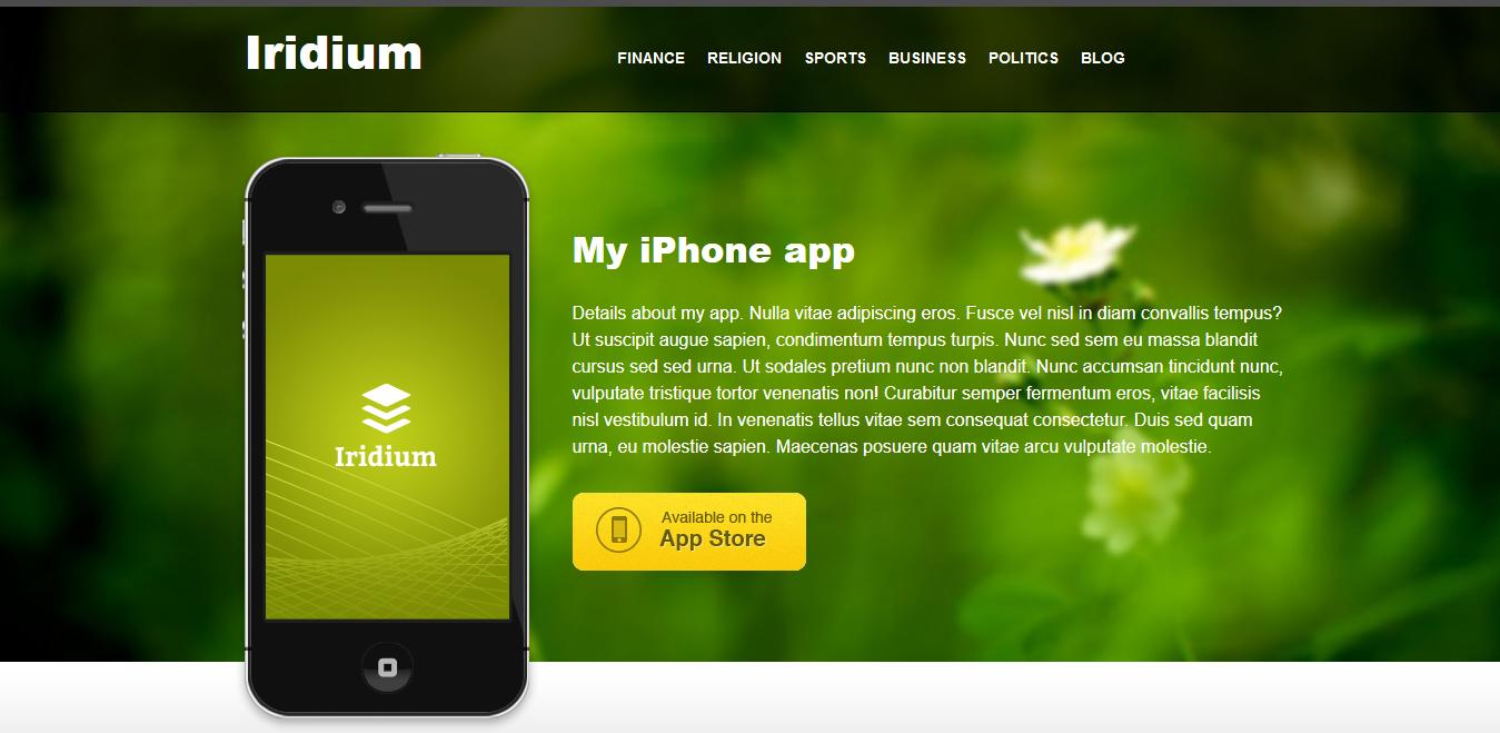 قالب معرفی اپلیکیشن های موبایل Iridium برای وردپرس