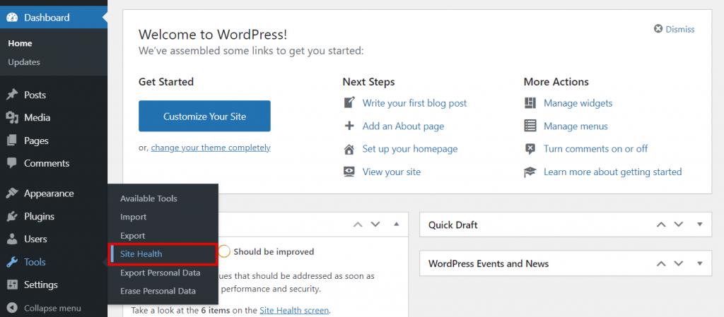 WordPress site health 1024x449 1 - محدودیت حافظه وردپرس - نحوه افزایش PHP Memory Limit