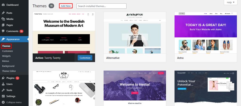 WordPress themes add new - آموزش نصب قالب وردپرس