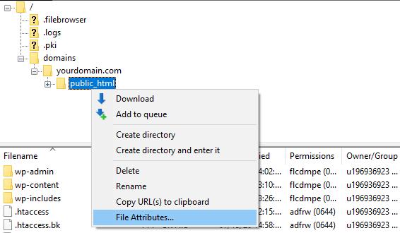 FTP file attributes 1 - خطای 403 چیست و چگونه باید آن را رفع کرد؟ (8 روش مختلف)