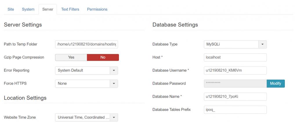 Joomla database details 1024x440 1 - چگونه می توان وب سایت خود را از جوملا به وردپرس منتقل کرد + در 5 مرحله