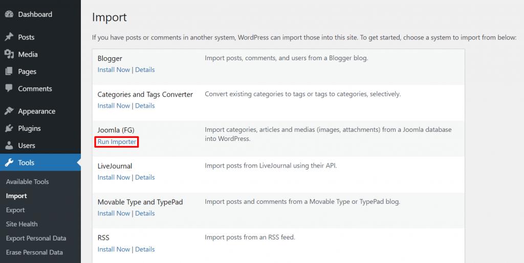 WordPress run importer 1024x515 1 - چگونه می توان وب سایت خود را از جوملا به وردپرس منتقل کرد + در 5 مرحله