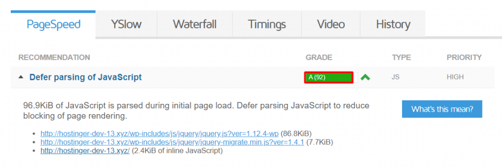 analyze defer parsing of javascript in gtmetrix 1024x341 - نحوه Defer Parsing of JavaScript در وردپرس