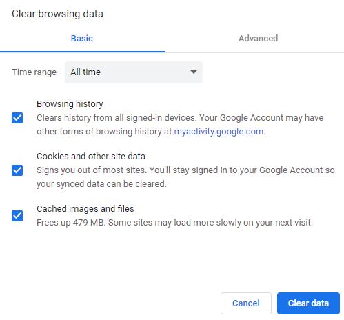 clear browsing data all - خطای 403 چیست و چگونه باید آن را رفع کرد؟ (8 روش مختلف)