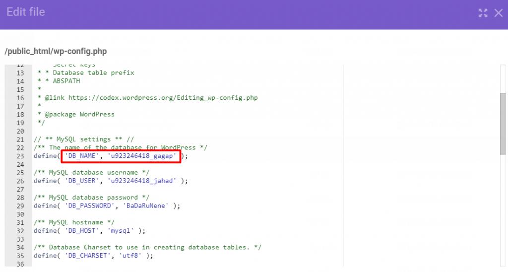 db name 1024x548 - نحوه تغییر URL های وردپرس در دیتابیس
