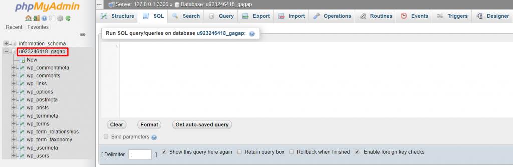 find the correct database name e1573614791721 1024x335 - نحوه تغییر URL های وردپرس در دیتابیس