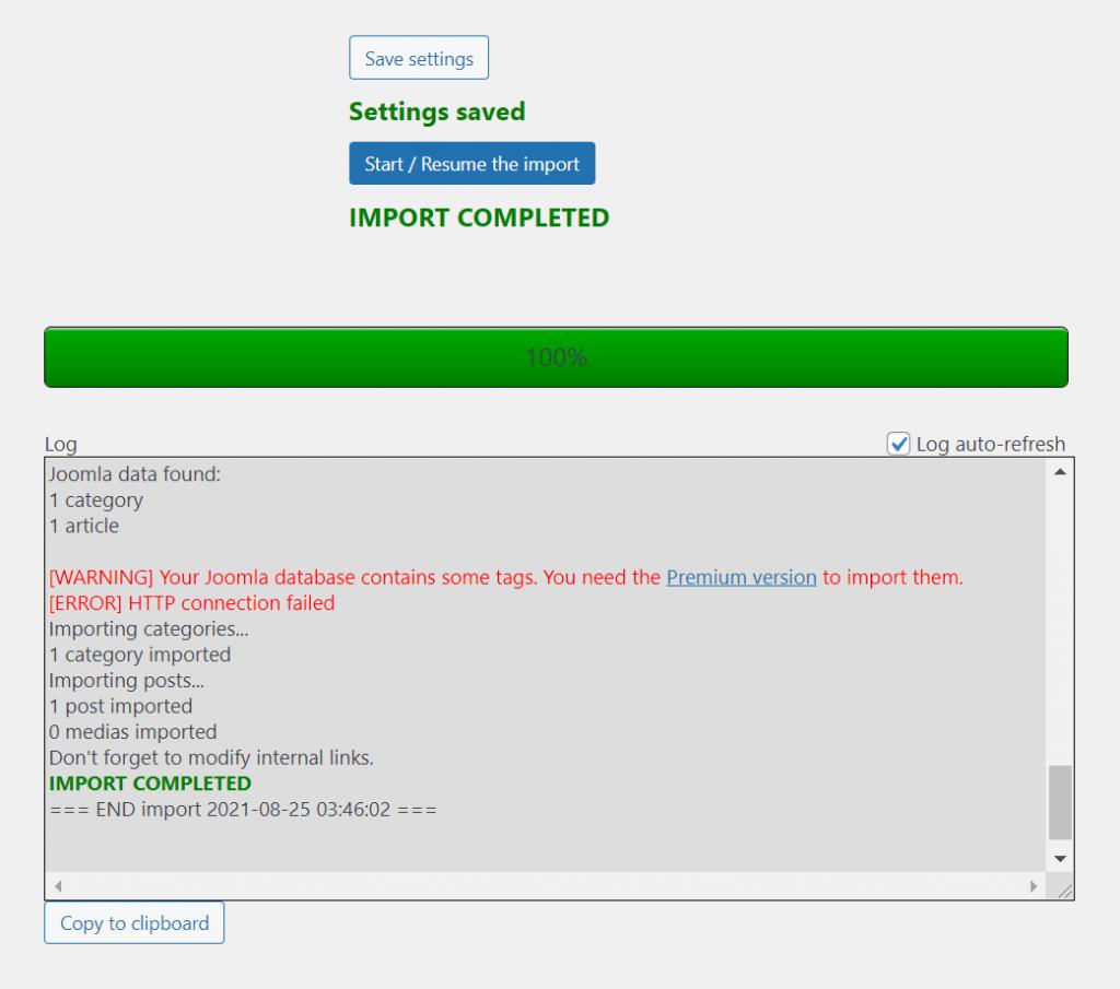 import completed 1024x905 1 - چگونه می توان وب سایت خود را از جوملا به وردپرس منتقل کرد + در 5 مرحله