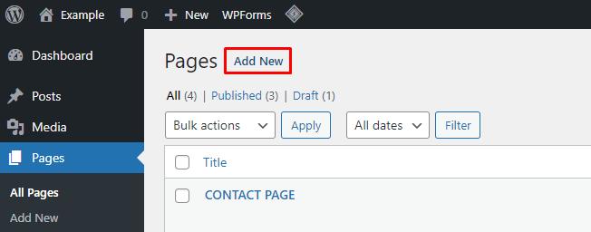 pages add new - نقشه سایت وردپرس چیست و چگونه می توان آن را ایجاد کرد؟